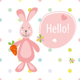 vector baby card with rabbit