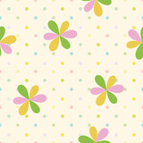 vector seamless children`s pattern simple flowers