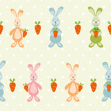 vector seamless baby pattern with bunnies and carrots