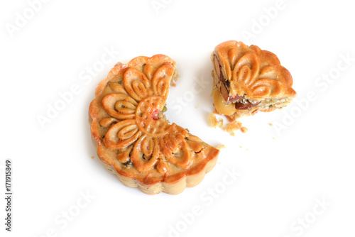 Mooncake with five kernel filling on white background - isolated