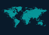 world map in digital technology style; concept of digital technology world