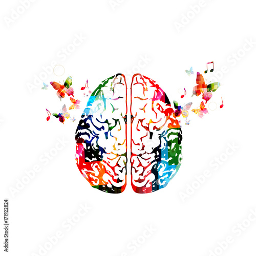 Colorful human brain isolated vector illustration © abstract