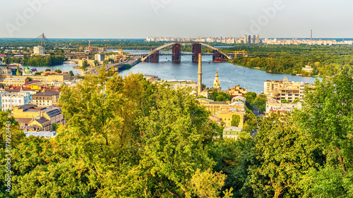 Foto op Plexiglas Kiev Kiev or Kiyv, Ukraine: aerial panoramic view of the city center in the summer