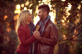 couple in love walking in the autumn park. - 171924072