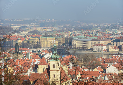 View of Prague towards Alsovo Embankment from Petrin hill. Poster