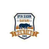 Safari hunting badge design with african animal