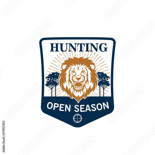 Hunting season badge of lion head with target