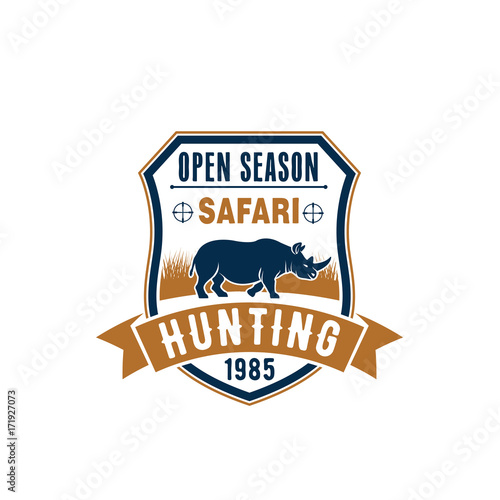 Sticker Safari hunting badge design with african animal