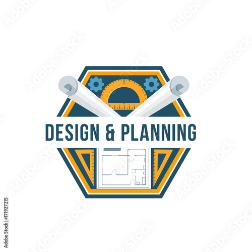 Sticker Building design and architectural planning badge