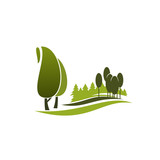Green tree symbol of eco park, city garden, forest - 171927443