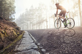 Fahrradfahrer auf einer Straße im nebligen Wald - 171929236