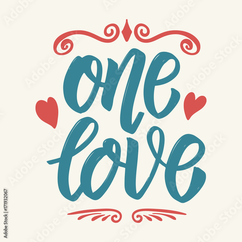 Póster Un amor. Dibujado a mano letras aisladas sobre fondo blanco.