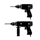 Black drill vector icons on white background - 171934073