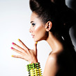 Portrait of Beautiful  woman wearing bracelet with thorns