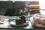 Tea with steam in room in morning sunlight - 171934264