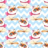 Watercolor cartoon cats, seamless pattern 7 - 171937621