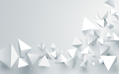 Abstract white 3d pyramids chaotic background. Vector illustration © pickup