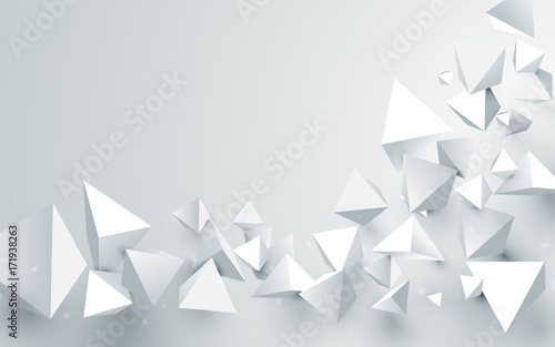 Abstract white 3d pyramids chaotic background. Vector illustration - 171938263