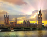 London at sunset. Beautiful idealistic sunset behind the Big Ben and Houses of Parliament  - 171940848