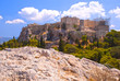 The Acropolis. A historical place of ancient civilization. Tourist attraction of Europe. The view from the mountains.