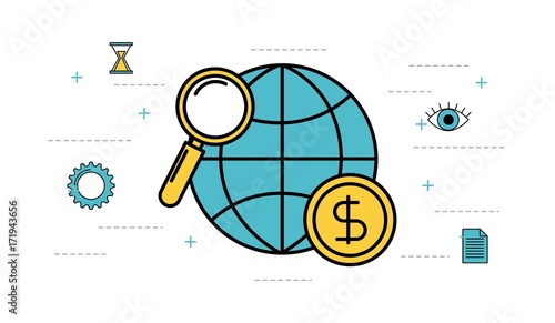 globe world magnifier money business vector illustration