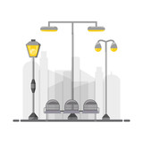 street lamps and chair icon over white background  - 171944439