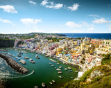 Panoramic view of Corricella village on Procida island in Italy - 171951470