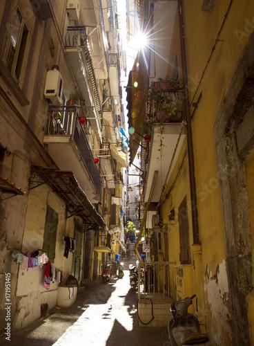 Foto op Plexiglas Napels Narrow street in old town of Naples city in Italy