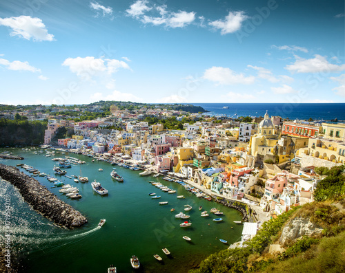 Spoed canvasdoek 2cm dik Napels Panoramic view of Corricella village on Procida island in Italy