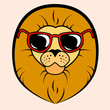 Steep lion with glasses, icon, vector