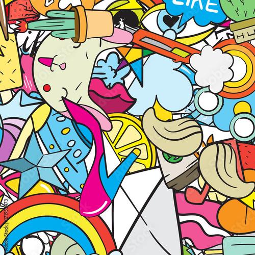 Graffiti wzór z ikonami linii miejskich stylu życia. Szalonego doodle abstrakcjonistyczny wektorowy tło. Modny kolaż w stylu liniowym z dziwacznymi elementami sztuki ulicznej.