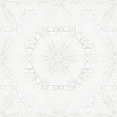 Beautiful background of seamless floral pattern. vector illustration. monochrome white gold color