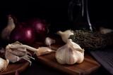 Onion and garlic. Seasonal, organic and healthy food concept. Traditional culinary - 171955403