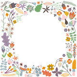 Autumn frame with flowers, leaves and branches. Vector Illustration - 171956661