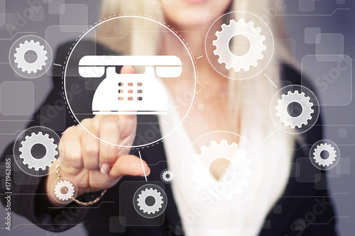 Poster Businesswoman presses button telephone gear engineering network interface