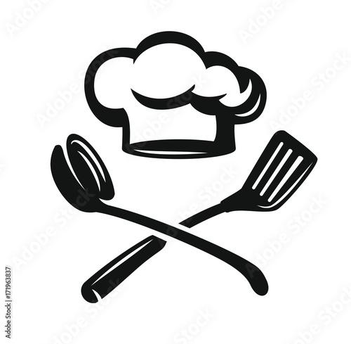Chef hat with kitchen utensils