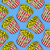 Popcorn in striped box, hand drawn doodle, sketch in pop art style, seamless pattern design on blue background