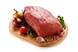Fresh raw beef sirloin on cutting board on white background  - 171967683