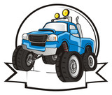 monster, truck, monster truck, big foot car, big foot, extreme, auto, motor racing, motor, cartoon, transport, car, bumper, big, up,  driving, outside driving, wheel, blue, clean, icon, banner, ribbon - 171968040