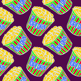 Popcorn in striped box, hand drawn doodle, sketch in pop art style, white outline, seamless pattern design on purple background