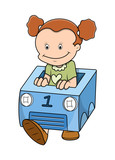 Cartoon Girl Playing with Box Car