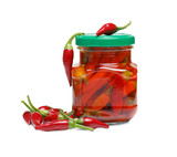 Realistic canned chilli pepper, izolated on white background. Asian market. Opened glass jar of mexican food.