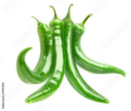 Fotobehang Hot chili peppers Isolated peppers. Bundle of hot green peppers isolated on white background with clipping path