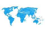 Freehand world map sketch on white background. Vector illustration