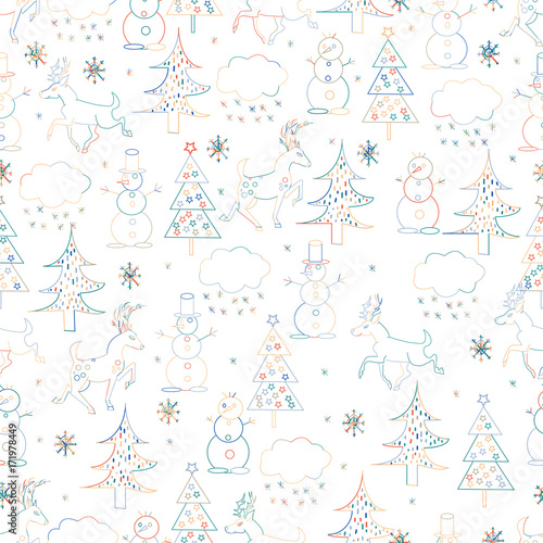 Seamless Christmas background. Hand drawn pattern with deers, fir trees, snowman, snowflakes.