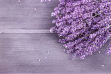 Dried lavender bunches on wooden background. Selective focus, copy space.