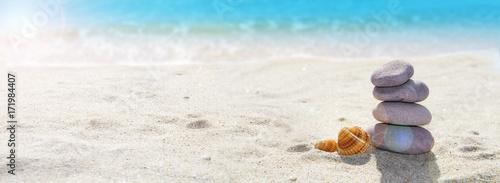 Spoed canvasdoek 2cm dik Stenen in het Zand vacaciones de verano en la playa