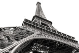 Black and white image of the Eiffel Tower in Paris