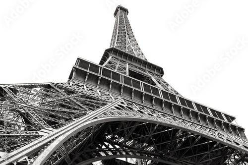 Sticker Black and white image of the Eiffel Tower in Paris