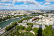 Aerial view of central Paris and the river Seine